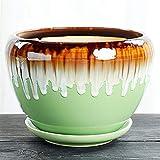 Thwarm Maceta de cerámica banda de cerámica bandeja verde planta flor en maceta verde huevas múltiples carne flujo de flujo de olla retro anti-zisha cerámica macetas de cerámica interior con bandeja p