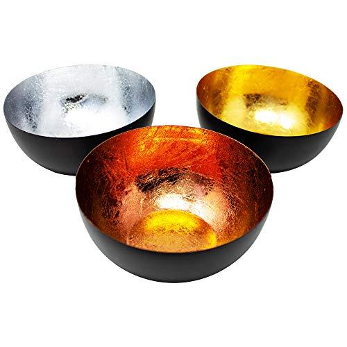 ToCi Teelichtschale 3er-Set Metall Teelichthalter Gold Kupfer Silber Kerzenhalter Design Windlicht 15x8x15
