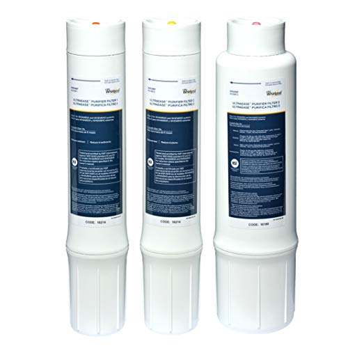Whirlpool WHEMBF Purifier Water Fits WHAMBS5 & WHEMB40 Filtration Systems | Extra Long Life | Easy to Replace UltraEase Filter Cartridges | 1 Set, Single Unit, White