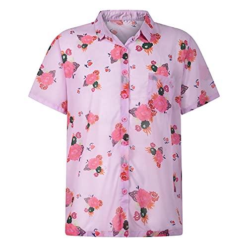 Camisa hawaiana de manga corta para hombre, de verano, de vacaciones, con estampado hawaiano, azul, M