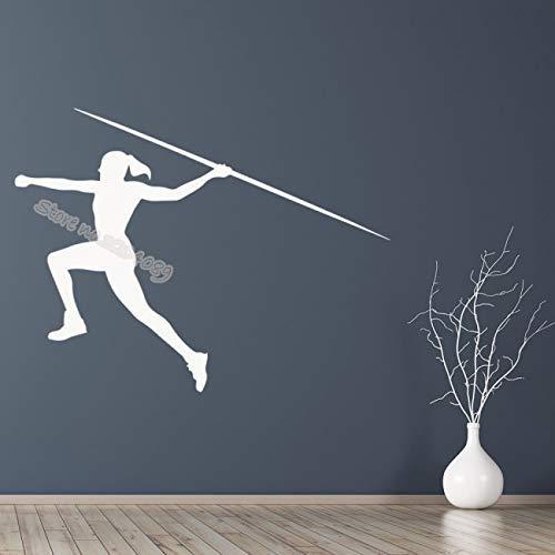 Lanzamiento Femenino Jabalina Atletismo Deportes Etiqueta De La Pared Decoración Para El Hogar Niña Dormitorio Sala De Estar Competición Estadio Estudio Mural 71X54Cm