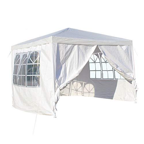Wiltec 3x3m Pavillon, weiß, mit abnehmbaren Seitenteilen und großen Fenstern, Gartenpavillon, Partyzelt