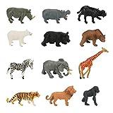 Yideng 12 Pièces Mini Animaux Forêt Ensemble de Jouets Réalistes Animaux de la Jungle Zoo World Wild Animal Learning Toys avec Éléphant Lion Girafe Zèbre pour Garçons Enfants Tout-Petits