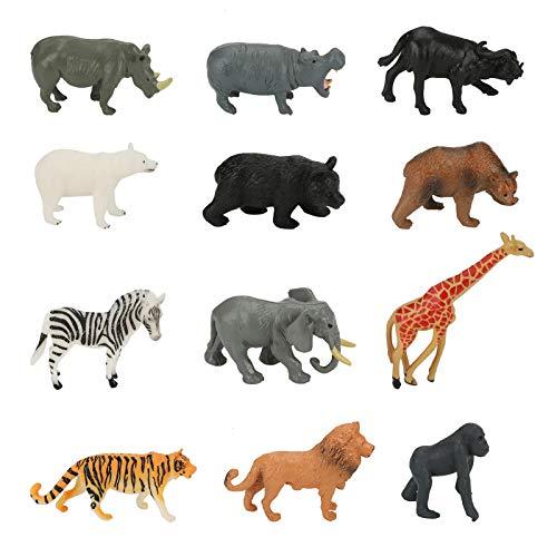 Yideng 12 Pezzi Mini Giungla Figure Animali Giocattoli Set,Realistico Zoo World Animali Giocattolo Selvaggio Vinile Plastiche Risorse di Apprendimento Bomboniere per 4+ Ragazzi Bambini