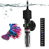 PULACO 25W Small Aquarium Betta Heater with Free Thermometer Strip, Under 6 Gallon Fish Ta...