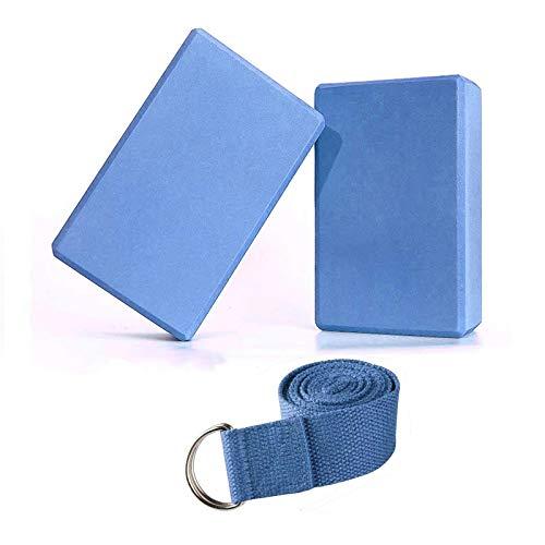 Abree 2pcs Bloques de Yoga+Correa - Bloque de Espuma EVA de Alta Densidad para Hacer Ejercicios en Casa-Set de Yoga para Mejorar Fuerza y Flexibilidad-Perfecto de Yoga/Pilates Amantes (Azul)