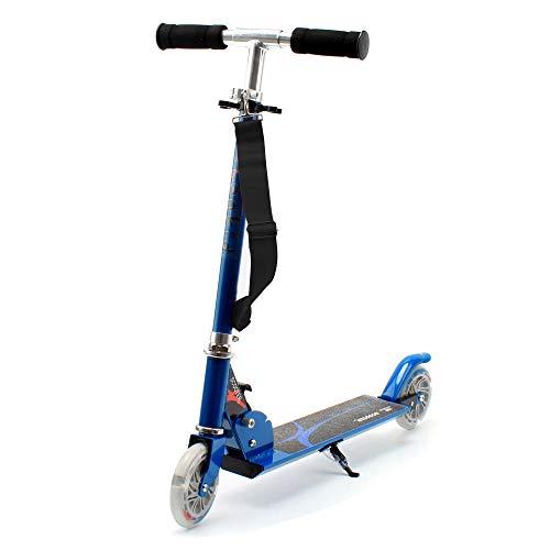 Patinete Honkid de aluminio con 2 ruedas - Scooter Patinete plegable 85cm altura ajustable para niños de 3-12 años de edad, Azul