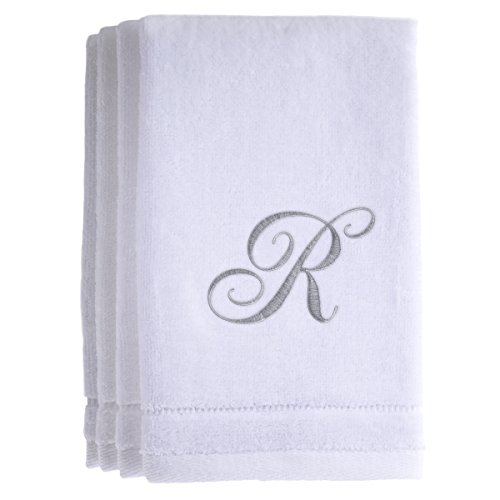 Monogrammed Towels Fingertip, Personalized Gift, 11 x 18 Inches - Set of 4- Silver Embroidered Towel - Extra Absorbent 100% Cotton- Soft Velour Finish - For Bathroom/ Kitchen/ Spa- Initial R (White)