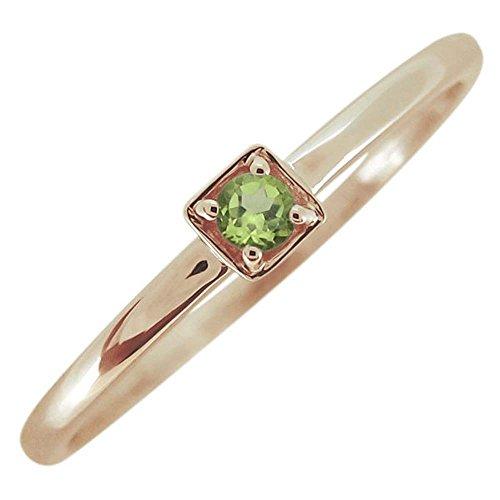 [プレジュール]ペリドットリング シンプル 華奢 指輪 一粒リング スクエア 10金 リングサイズ4号
