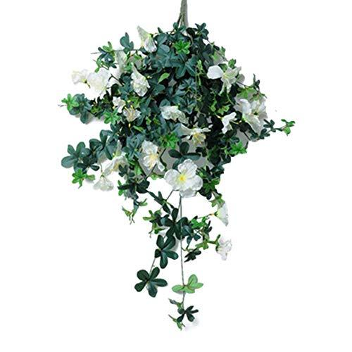 Divisor 1 ramo de flores artificiales de ratán para decoración de bodas, jardín, fiesta, hotel, oficina., Blanco, 90 cm