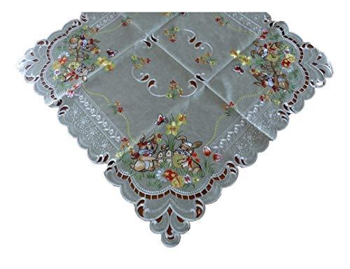 Scacchi Pasquali Pasqua Coniglietto pasquale Runner Tovaglia Fodera per cuscino effetto lino verde beige–Misura a Scelta, 85 x 85 cm