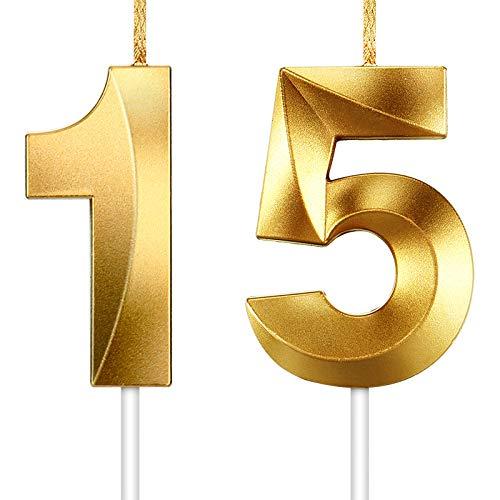 2 Stücke Nummer Kerze Gold Glitzer Kerzen Dekorative Geburtstagstorte Kerzen Geburtstag Kuchen Topper Dekoration für Hochzeit Geburtstag Jubiläum Feier Abschluss (Nummer 15)