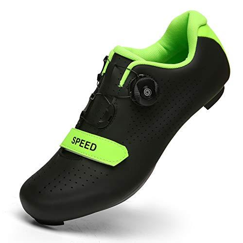 [Lakerom] サイクリング サイクルシューズ ロードバイクシューズ MTBシューズ 自転車 SPD/SPD-SL両対応 快速靴紐 BOA ベルクロ 滑りにく 超軽量 初心者 Black43