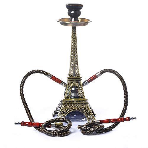 YONGCHY Paris Turm Metall Shisha Doppelrohr-Set Huka Shisha Narguile Charcoal Tigela Shisha Basis Tuyau Chicha Zubehör-Party-Geschenke