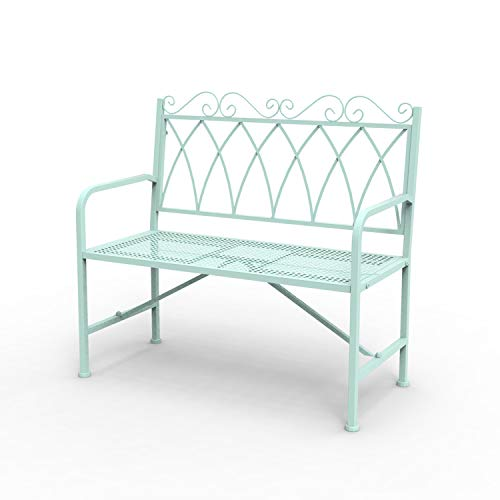 "okl 40.7"""" Porch Bench, Cast Iron Metal Frame Garden Furniture Patio Glider, Weight Capacity 220lbs Large Loveseat for 2 Person, Best Used Inside or Under a Covered Area, Green"