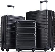 Flieks Luggage Set 3 Piece with TSA Lock Light Weight Hardside Spinner Suitcase (Black)