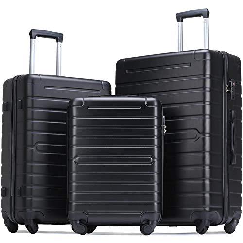 Flieks Luggage Sets TSA 3 Piece Spinner Suitcase Lightweight 20 24 28 inch (Elegant Black)