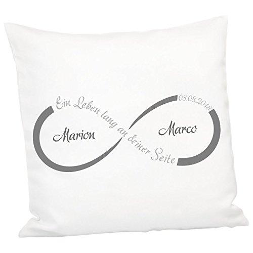 Geschenke 24: Kissen - Unendlichkeit mit Personalisierung (Grau) - personalisiertes Kuschelkissen - Romantisches Zierkissen mit Namen und Datum