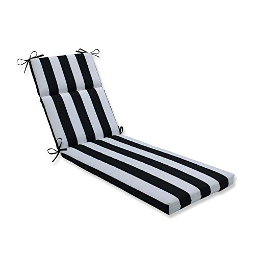 """Pillow Perfect Outdoor/Indoor Cabana Stripe Chaise Lounge Cushion, 72.5"""" x 21"""", Black"""
