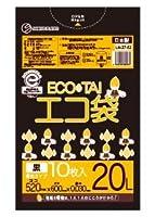 ゴミ袋 ECOTAI ECO 20L幅広タイプ 520x600x0.030厚 黒 10枚x60冊/箱 LLDPE素材