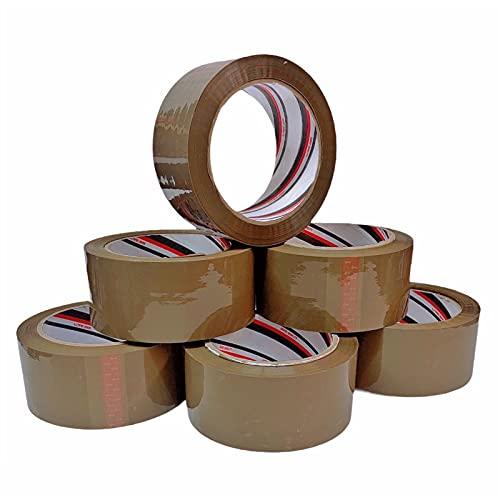 LUCIFERIA Cinta de Embalaje 48MM x 100M Precinto Adhesivo Extrafuerte y Resistente para Embalar,Cinta Adhesiva para Embalar Paquetes y Cajas de Envío y Mudanza,6 Rollos Color Marrón