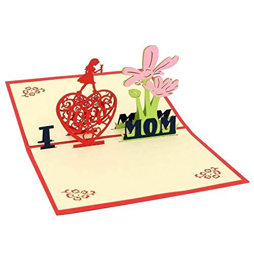 Hualieli 2021 Neueste Muttertag Blumen Pop Up 3D-Karte Einzigartige Liebeskarte, Mutter-Tages-Karte Für Mama-Blumen, Handgefertigte Grußkarte, Für Mutter Frau Freund Jubiläum