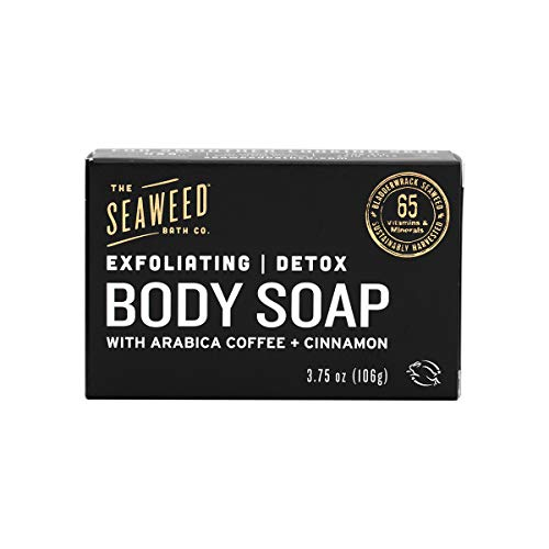 The Seaweed Bath Co. Exfoliating Detox Body Soap, Unscented, With Natural Bladderwrack Seaweed, Arabica Coffee, Vegan, Paraben Free, 3.75 oz.