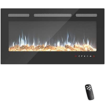 KUPPET Electric Fireplace Recessed and Wall Mounted with Safety Cut-off Device,Touch Panel Control Screen & Remote, Digital LED Display & Timer