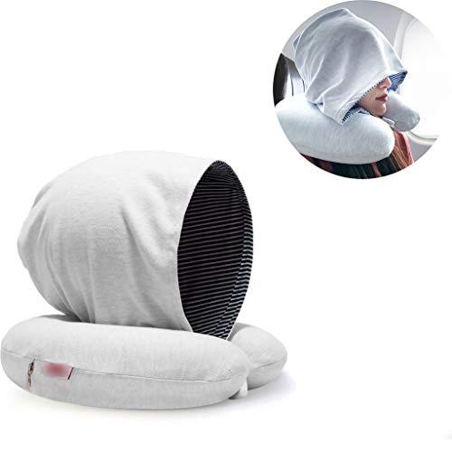 PLHMS Memory Foam Neck kussen, reiskussen, wasbaar, comfortabel en ademend, met hoed, Memory Foam reisaccessoires, met opbergtas
