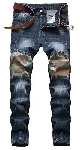 OKilr Pjik Men's Retro Blue Ripped Straight Slim Fit Casual Destroyed Broken Holes Jeans