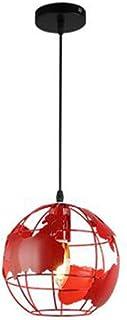 HJXDtech - World Map Suspension Globe Map Abat-jour 20cm Abat-jour Industriel Vintage Métal (Rouge)
