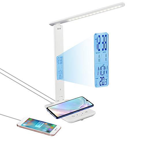 Lámpara de escritorio LED con cargador QI inalámbrico y USB, lámpara de escritorio ajustable flexible, control táctil, pantalla LCD con funciones hora, alarma y temperatura (blanco)