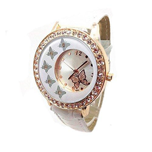 Broadfashion Damenuhr Quarz Schmetterling Muster Strass Armbanduhr Uhr PU Lederband (Weiß)
