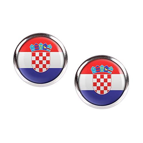 Mylery Ohrstecker Paar mit Motiv Kroatien Zagreb Croatia Flagge silber 12mm