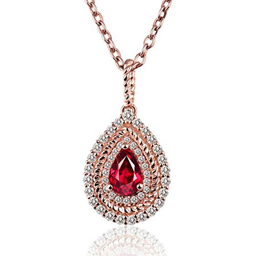 Beydodo Hochzeit Kette 750 Rotgold 18 Karat mit Anhänger Tropfen Rubin 0.65ct, Halskette Charm mit Diamant Echt Damen Kette 45CM