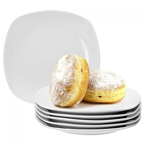 Van Well Lot de 6 assiettes à gâteau Lilli, 190 x 190 mm, assiettes à petit-déjeuner, assiettes à dessert, assiettes de service, assiettes carrées en porcelaine de marque élégante, blanc brillant, classique