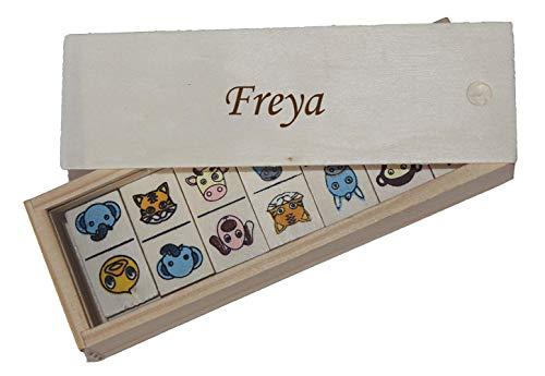 SHOPZEUS Domino für Kinder in Holzkiste mit eingravierter Aufschrift Freya (Vorname/Zuname/Spitzname)