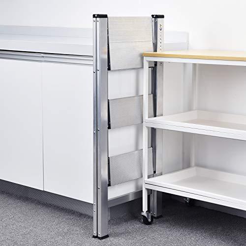 KINGRACK Step Ladder, 3 Step Aluminium Folding Ladder,Portable Slim Step Stool, Safety Household Ladder Stepladder with Milti-fuction