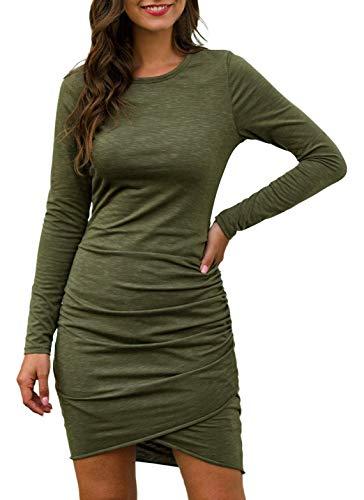 Eledobby Mini Vestido Ajustado para Mujer Manga Larga Sexy Asimétrico Vestidos de Tubo Delgado Cuello Redondo Ropa Informal para Fiesta Calle Trabajo de Oficina Verde Militar XL