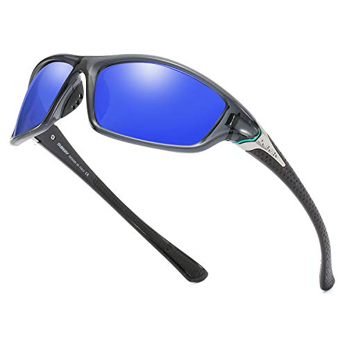 DUBERY Mens Sports Polarized Sunglasses 100% UV Protection Driving Cycling Fishing Shades D120, Crystal Grey/Mazarine