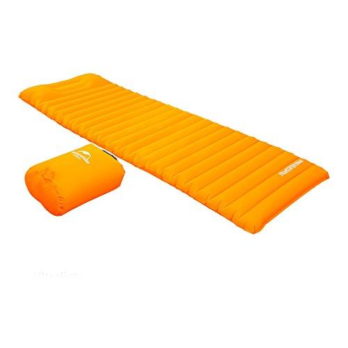 OUTAD Isomatte, aufblasbare Luftmatratze, Luftmatratze, für Camping, Rucksackreisen, Wandern.Schnell aufblasbares Luftschlauch-Design mit eingebauter Pumpe.(Orange)