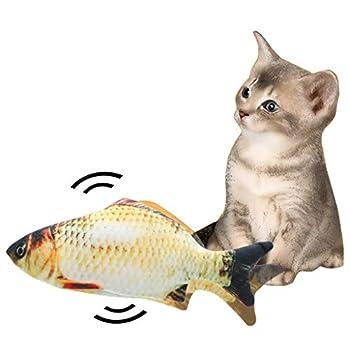 Feitb Jouet pour Chat Poisson en Peluche, Jouets à l'herbe à Chat, Cataire Chat Jouets, Simulation Poissons en Peluche, USB Cataire Poisson Rechargeable, Jouet à Mâcher interactifs pour Chat Kitty