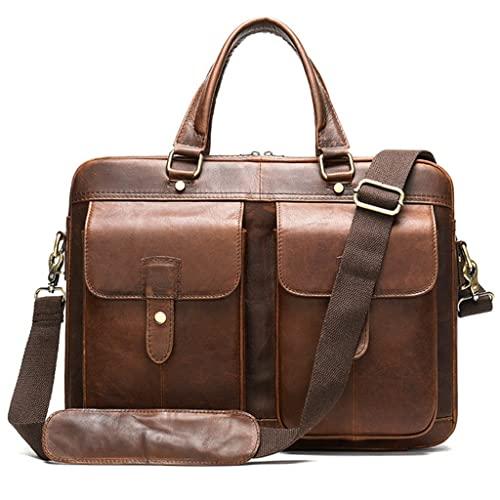 WQXD Hombres Maletín de Cuero Genuino Convertible 15 Pulgadas Laptop Messenger Bags Bolso Multifuncional Oficina de Negocios Bolso Hombro (Color : Red Brown, tamaño : 15 Inch)