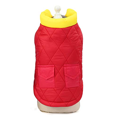 zbtrade Winter Dog Jacket Clothes,Color Matching Pet Autumn Cotton-Padded Mini Double-Pocket Solid Color Vest Dog Clothes Cold Weather Warm Coat Red M