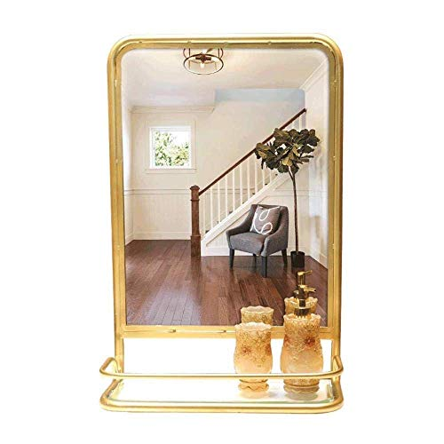 FYYONG Metal Moderno Espejo de Almacenamiento, colgados de la Pared Espejo con Estante for decoración de la Pared, MDF Volver, Decoración for el baño, Granja, Dormitorio y Sala de Estar, Oro