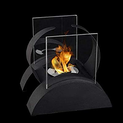 JHY Design Square Tabletop Fire Bowl Pot with Two-Sided Glass 19 cm Tall Portable Tabletop Fireplace–Clean-Burning Bio Ethanol Ventless Fireplace for Indoor Outdoor Patio Parties Events