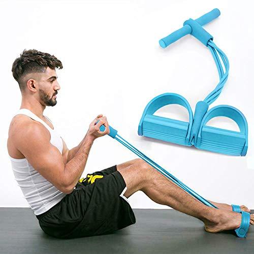 Cuerda Elástica de Pedal Barra de Pilates Bandas Elasticas Musculacion,Bandas de Resistencia con Cinco Tubo de Látex Barra de Pilates Cuerda de Tensión Multifunción(tlq-Azul)