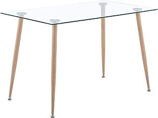 GOLDFAN Table à Manger en Verre Rectangulaire Moderne Table Pieds en Métal pour la Cuisine de Salon de Bureau Salle à Manger