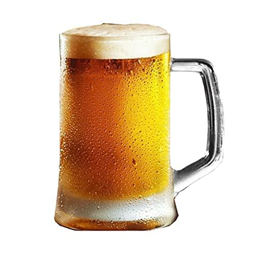 TEETLE Tazas de cerveza gruesas, vaso de cerveza con mango, material de cristal sin plomo, vasos de cerveza para hombres, 14 onzas, 24 onzas (color: 395 ml)