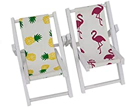 HUELE 2 PCS Mini Wooden Beach Chair Longue Deck Chair Craft Dollhouse Accessories